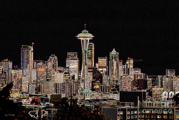 Colorful Art Print featuring the photograph Seattle A Glow by Larry Keahey