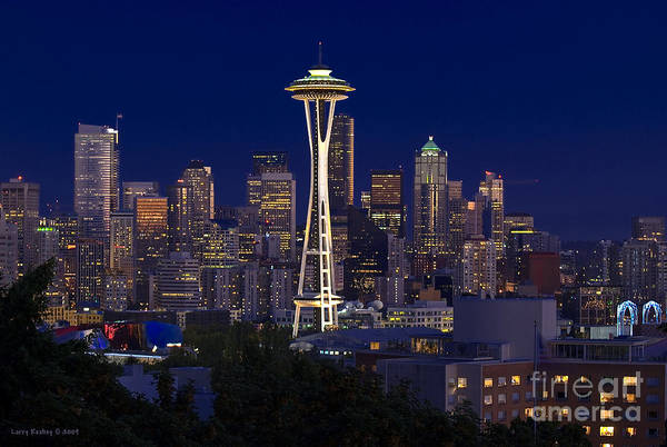 Seattle Art Print featuring the photograph Seattle At Night by Larry Keahey