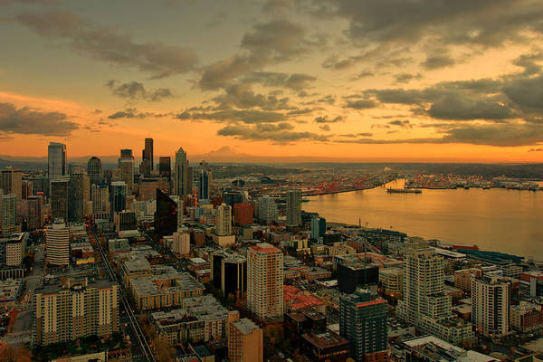 Seattle Art Print featuring the photograph Seattle Sunset by Dan Mihai