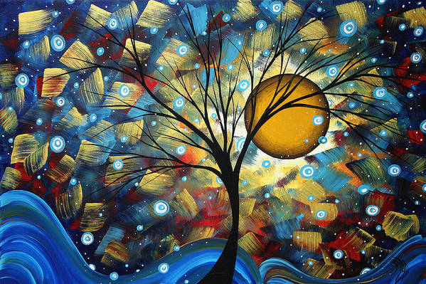 Abstract Art Print featuring the painting Serenity Falls By Madart by Megan Duncanson