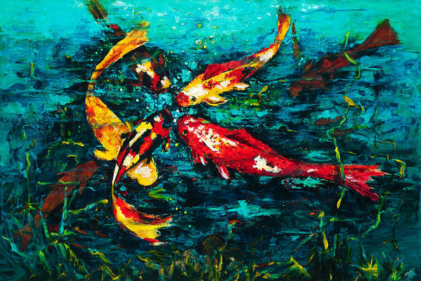 Koy Art Print featuring the painting Seven Koi by Mary DuCharme