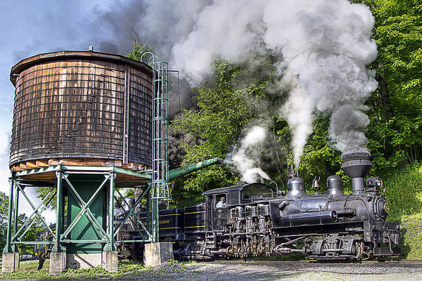 Locomotive cass Scenic Railroad west Virginia Scenic Rural Lumber Timber Cass steam Engines steam Locomotive Railroad Railway Shay Art Print featuring the photograph Shay Five Taking Water by Tom Steele
