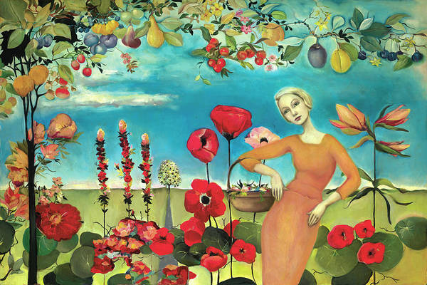 Cassandra Barney Art Print featuring the painting She Gathered Fruit by Cassandra Barney