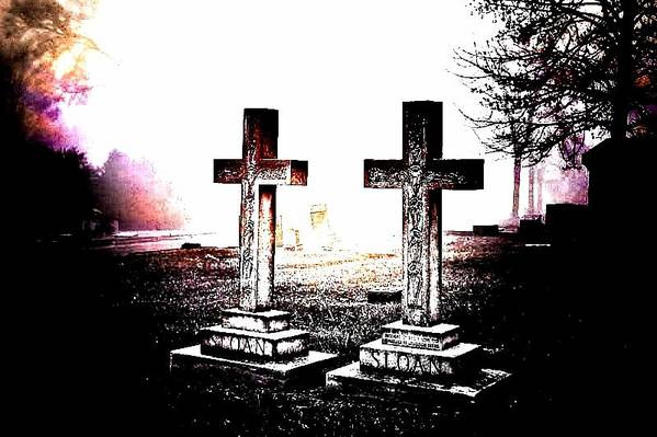 Elmwood Cemetery Print featuring the photograph Side By Side by Diane Payne