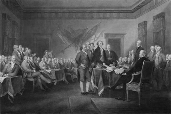 Declaration Of Independence Print featuring the mixed media Signing The Declaration Of Independence by War Is Hell Store