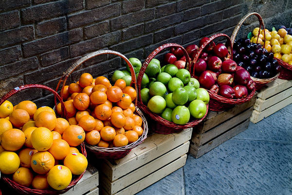Fruit Art Print featuring the photograph Six Baskets Of Assorted Fresh Fruit by Todd Gipstein