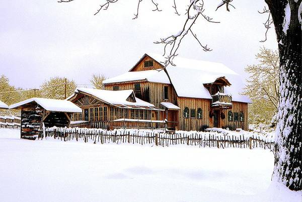 Barn Art Print featuring the photograph Skyland Farms In Winter by Roger Soule