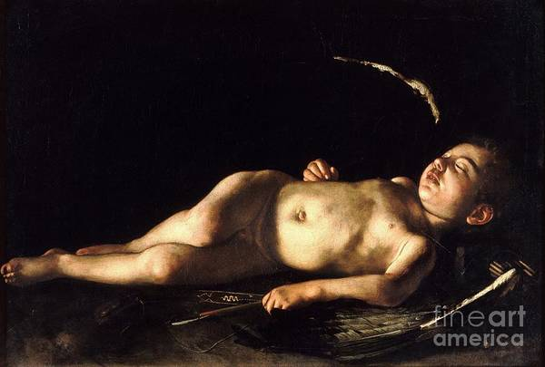 1596 Paintings Art Print featuring the painting Sleeping Cupid by Pg Reproductions