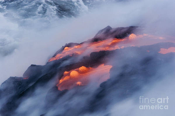Abstract Art Print featuring the photograph Smoking Pahoehoe Lava by Ron Dahlquist - Printscapes