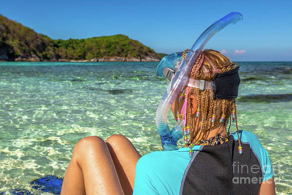 Snorkeler Art Print featuring the photograph Snorkeler Relaxing On Tropical Beach by Benny Marty
