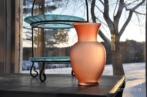 Vase Art Print featuring the photograph Snow And Glass by John Black