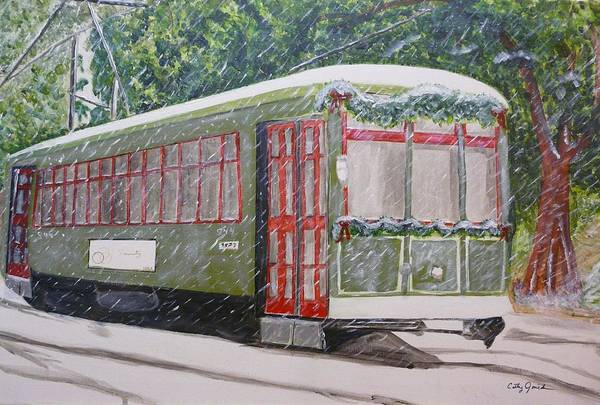 Nola In Winter Art Print featuring the painting Snowy Day In New Orleans by Cathy Jourdan