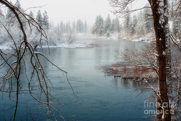 Spokane River Art Print featuring the photograph Snowy Day On The River by Beve Brown-Clark Photography