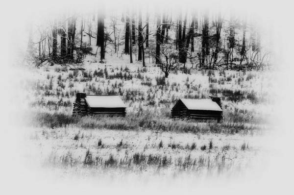 Log Art Print featuring the photograph Snowy Log Cabins At Valley Forge by Bill Cannon