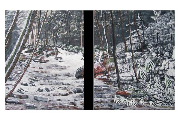 Forest Art Print featuring the painting Snowy Stream by Ellie Swofford