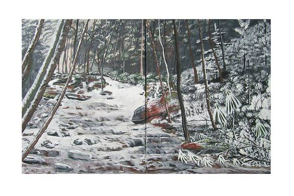Forest Art Print featuring the painting Snowy Stream2 by Ellie Swofford