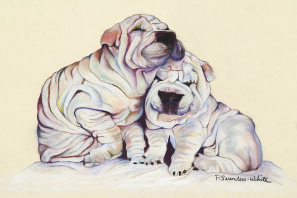 Dog Painting Art Print featuring the pastel Snuggles by Pat Saunders-White