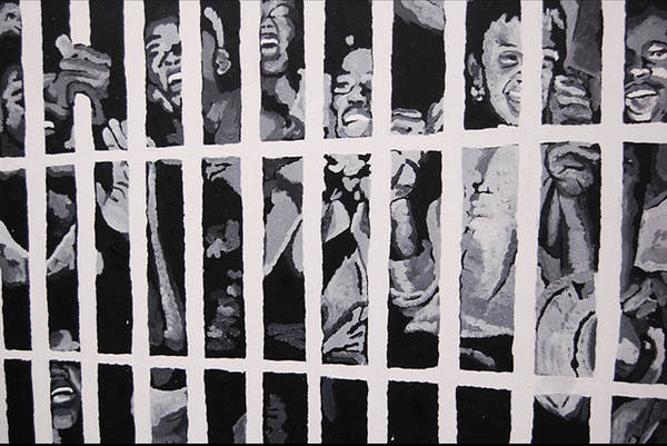 Civil Rights Art Print featuring the painting Some Of The 210 Demonstrators Jailed Wave From Their Cell 1964 by Lauren Luna