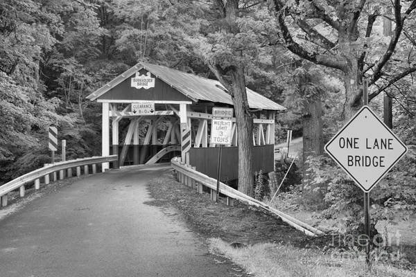Burkholder Covered Bridge Art Print featuring the photograph Somerset One Lane Bridge Black And White by Adam Jewell