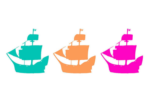 Pirate Ship Art Print featuring the digital art Sorbet Ships by El Queso