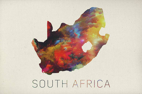 Map Of Africa Art.South Africa Watercolor Map Art Print By Design Turnpike