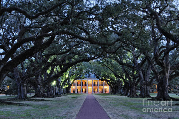 Architecture Art Print featuring the photograph Southern Manor Home At Night by Jeremy Woodhouse