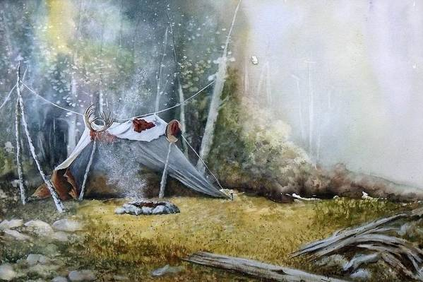 Tent Art Print featuring the painting Spike Camp by Lynne Parker