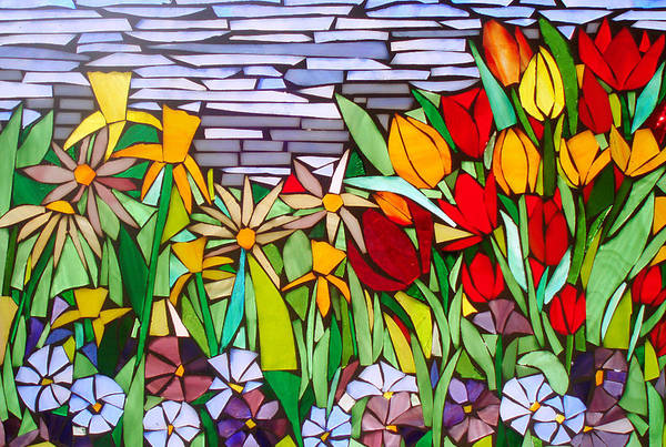 Flowers Art Print featuring the glass art Spring Floral Mosaic by Liz Lowder