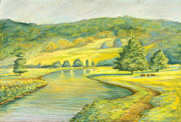 Landscape Art Print featuring the pastel Spring Trail by Michael Scherer