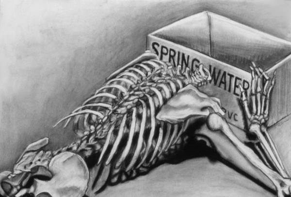 Skeleton Art Print featuring the drawing Spring Water by John Clum