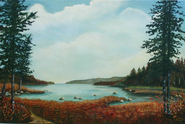 Original Acrylic Landscape Art Print featuring the painting St Annes Bay Nova Scotia by Sharon Steinhaus