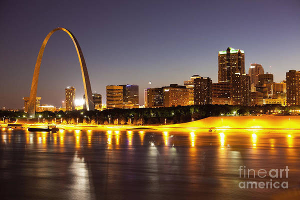 Arch Print featuring the photograph St Louis Skyline by Bryan Mullennix