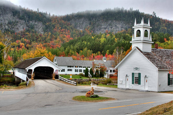 New Hampshire Art Print featuring the photograph Stark Covered Bridge And Village by Brett Pelletier