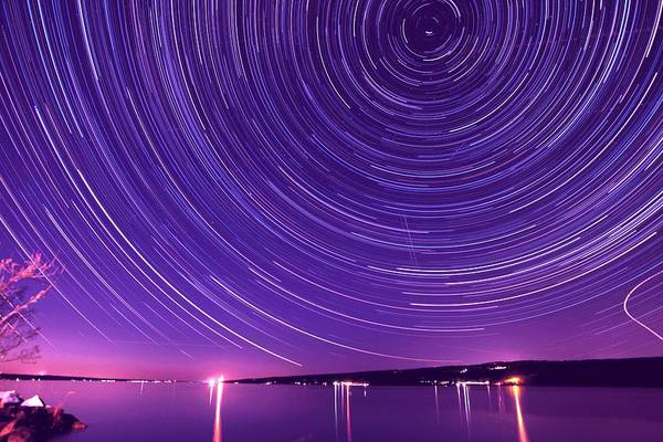 Star Print featuring the photograph Starry Night Of Cayuga Lake by Paul Ge