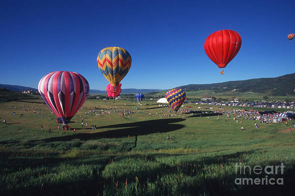 Colorado Art Print featuring the photograph Steamboat Springs Balloon Festival by Stan and Anne Foster