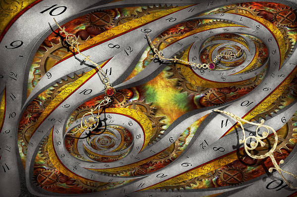 Steampunk Art Print featuring the photograph Steampunk - Spiral - Space Time Continuum by Mike Savad