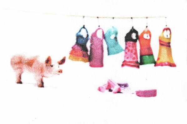 Pig Art Print featuring the mixed media Stereotype by Kimberly Lavon