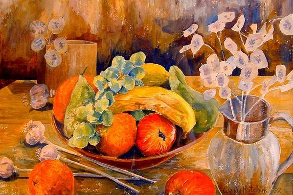 Still Life With Fruit Art Print featuring the painting Still Life With Honesty by Wendy Head