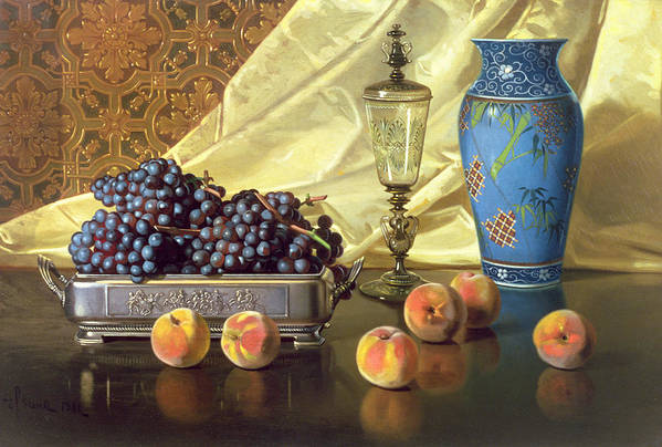 Still Life With Peaches Print featuring the painting Still Life With Peaches by Edward Chalmers Leavitt