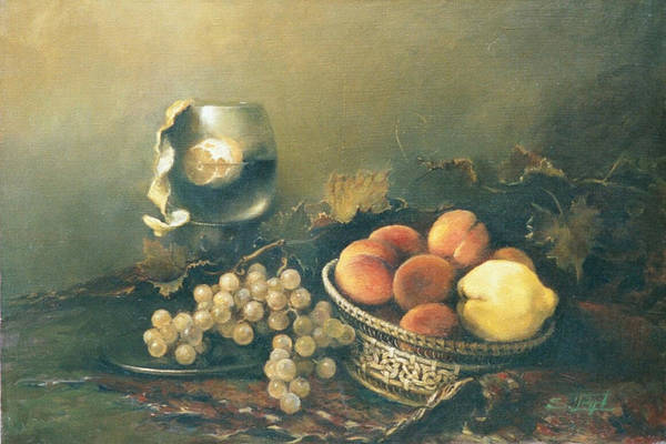 Armenian Print featuring the painting Still-life With Peaches by Tigran Ghulyan