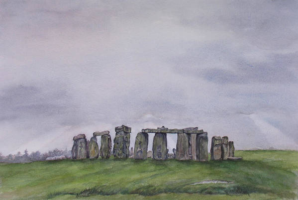 Stonehenge Art Print featuring the painting Stonehenge by Debbie Homewood
