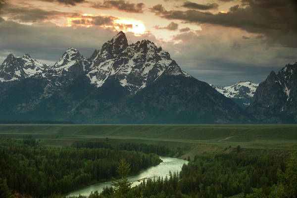 Grand Teton Print featuring the photograph Storm Clouds Over The Tetons by Andrew Soundarajan