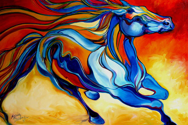 Horse Art Print featuring the painting Stormy An Equine Abstract Southwest by Marcia Baldwin