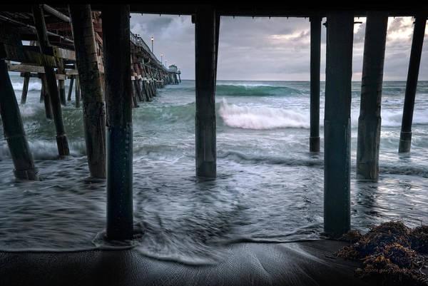 San Clemente Art Print featuring the photograph Stormy Pier by Gary Zuercher