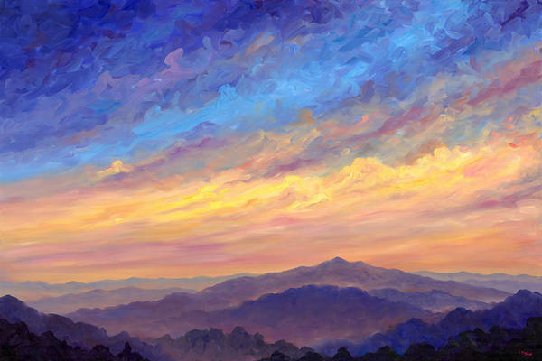 Cold Mountain Art Print featuring the painting Streaking Sky Over Cold Mountain by Jeff Pittman