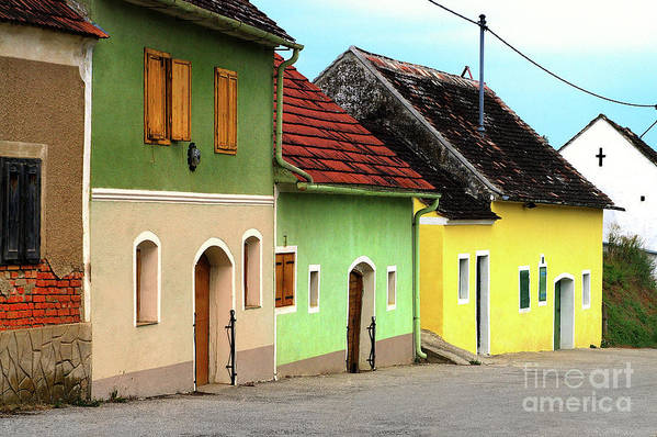 Street Of Wine Cellar Houses Print featuring the photograph Street Of Wine Cellar Houses by Mariola Bitner