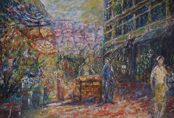 Street Art Print featuring the painting Street Peddler - Kl Chinatown by Wendy Chua