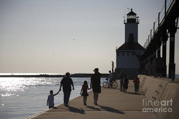 Lighthouse Art Print featuring the photograph Stroll by Jeannie Burleson