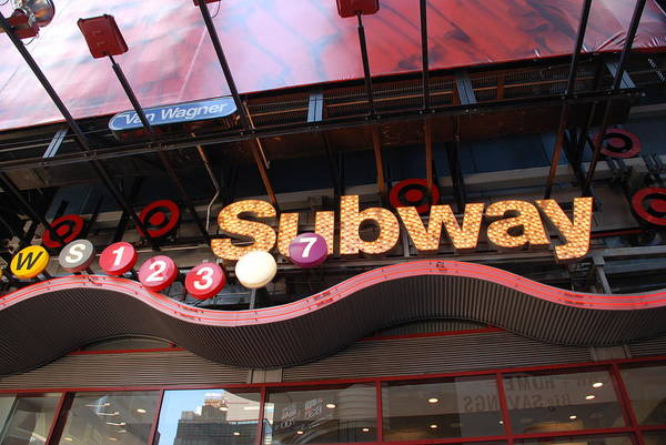 Neon Art Print featuring the photograph Subway by Rob Hans