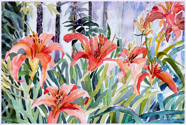 Day Lily Art Print featuring the painting My Summer Day Liliies by Mindy Newman